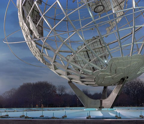 "<b>GLOBALIZED:</b> Jade Doskow's 2008 photo captures the Unisphere from the 1964 New York World's Fair. The fair's motto was ""Peace Through Understanding."""