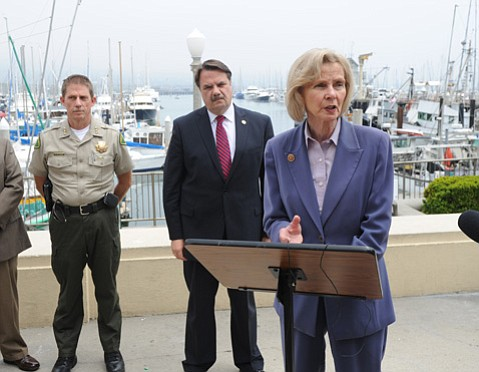 <b>EYE ON THE COAST: </b> Congressmember Lois Capps and Sheriff Bill Brown said while panga numbers are down, enforcement efforts continue.