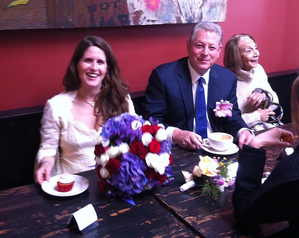 "Sarah and Al Gore ate at Crushcakes after the wedding. ""Al Gore was wonderful and sweet to me and all of our staff!"" said owner Shannon Gaston. ""What an amazing celebration, we are honored to be a part of it!!!"""