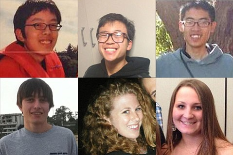 Isla Vista murder victims. Top row from left to right: Weihan Wang, George Chen, Cheng Yuan Hong. Bottom row from left to right: Christopher Michaels-Martinez, Katie Cooper, Veronika Weiss