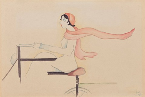 "QUEEN BEA:  Beatrice Wood's ""You look like a goddess on a hairpin"" from the book <i>Touching Certain Things</i>, 1932 (pencil and watercolor on paper), is currently on view at the Santa Barbara Museum of Art."