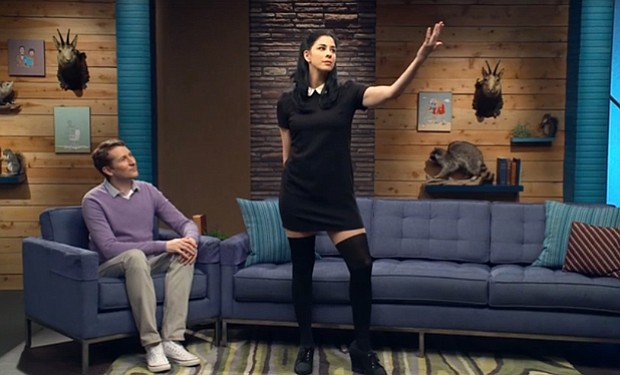 AFTER HOURS: Scott Aukerman and special guest Sarah Silverman send up the late night talk show on IFC's <em>Comedy Bang! Bang!</em>