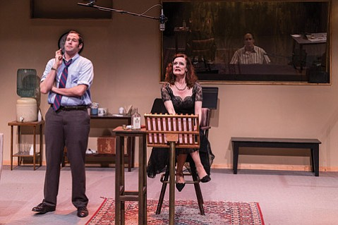 <b>PLAYBACK:</b> Jon Levenson (left), Diane Louise Salinger (center), and Brian Harwell (right) star in<i>Looped</i>.