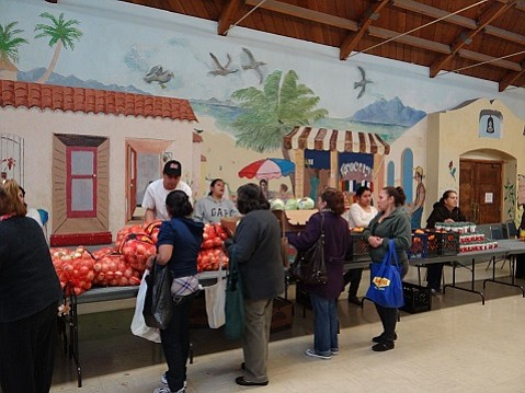 Santa Barbara County Foodbank distributes free food in the Goleta Valley Community Center's Dining Room.