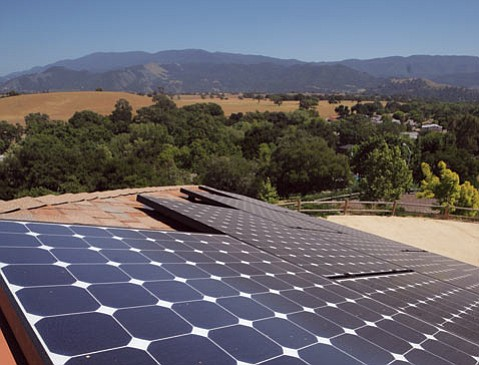 Rooftop solar collectors at the Chumash reservation.