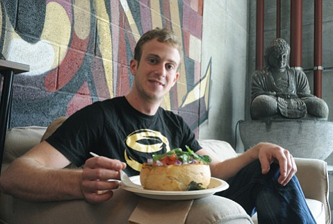 <b>PASS THE BOWL:</b>  Entrepreneurial UCSB grad Daniel Dunietz delivers soulful grub surrounded by bread at I.V.'s Buddha Bowls.