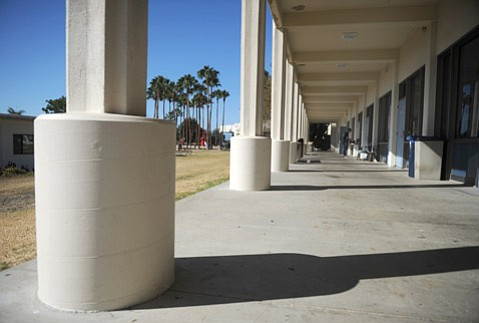 <b>RETROFITTED:</b>  SBCC officials say they need $288 million to replace and renovate a number of buildings including the campus center (pictured), which had these pillars installed to keep it standing.