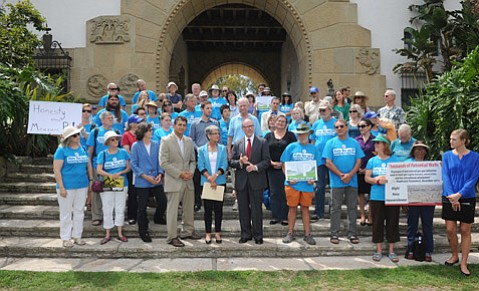 "<b>BLUE IN THE FACE:</b>  Top Measure P supporters including Das Williams (front row, third from left) and Hannah-Beth Jackson (front, fourth from left) gathered at the courthouse to call out a ""systematic campaign of deception"" run by the oil industry."