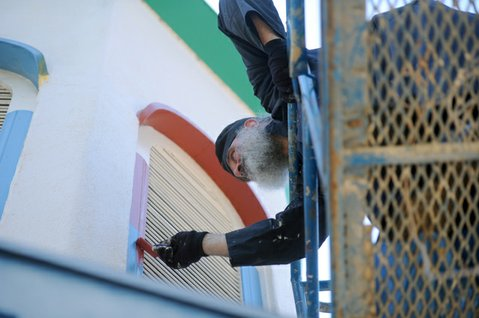 Father Archimandrite Gideon repainting the Holy Ressurection Russian Orthodox Church