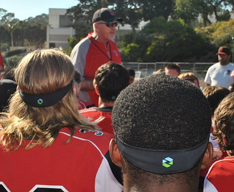 Vaqueros football players at SBCC wear Triax force meter headbands to measure impacts to their heads.
