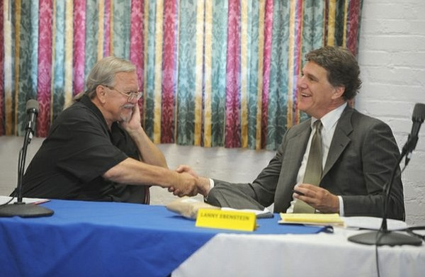 Dave Davis (left) and Lanny Ebenstein shake hands before the Measure P debate (Sept. 17, 2014)