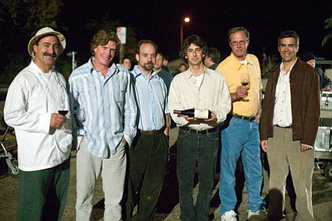 <b>FRONT-ROW VIEWING:</b> The Hitching Post's Frank Ostini (far left in hat) enjoyed an up-close look at the filming of the 2004 hit <i>Sideways</i>, including on-set time with (from left) Thomas Haden Church, Paul Giamatti, Alexander Payne, and his winemaking partner, Gray Hartley.