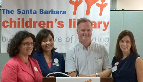At the Santa Barbara Children's Library fundraising campaign kickoff were Mayor Helene Schneider, Library Director Irene Macias, campaign cochair Jim Jackson, and Dianne Duva, president of the library's foundation.