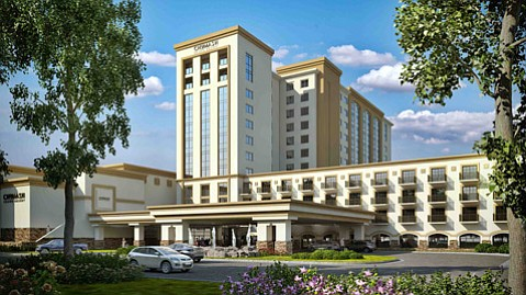 An artist's rendering shows the 12-story hotel wing planned for the Chumash Casino Resort.