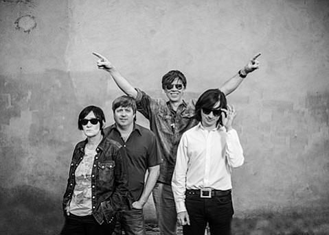 START AGAIN:  The Thurston Moore Band is (from left) bassist Debbie Googe, drummer Steve Shelley, Moore, and guitarist James Sedwards.