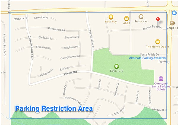 Map of Goleta's proposed parking restricted area for Halloween 2014