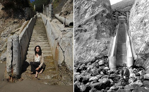 "<b>BEFORE AND AFTER:</b>  Nina Johnson (left) sits at the bottom of the ""Thousand Steps"" stairway on the Mesa. To the right are the steps as they were circa 1923."
