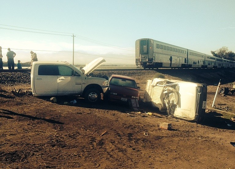 Aftermath of train vs. car collision south of Guadalupe