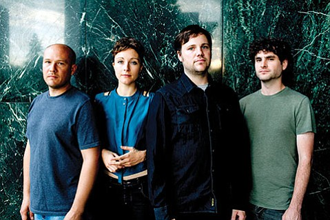 <b>TWINNING:</b>  Poliça's lineup features the dual drum work of Ben Ivascu (left) and Drew Christopherson (third from left). The Twin Cities electro-rockers (rounded out by frontwoman Channy Leaneagh and Chris Bierden) play SOhO on October 15.