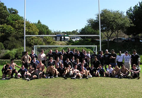 <b>RUGBY REMATCH:</b>  A decade ago, New Zealand rugby players descended on our seaside town for a weekend of games. The Kiwis are back for two exhibition matches Friday at San Marcos High, where they go up against UCSB's women's club at 5:30 p.m., followed by the Santa Barbarians versus the Kiwis at 7 p.m. This group shot shows the New Zealand Institute of Sport arm in arm with the Santa Barbarians, following their rugby match in 2004 at Elings Park.