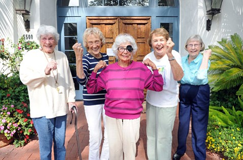 Maravilla residents (from left) Gayle, Jean, Lucy, Marilyn, and Virginia flex after exercise class.