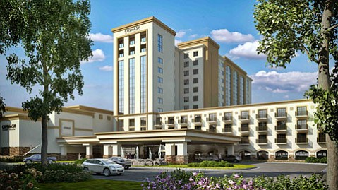 <b>TOWERING:</b> As shown in this artist's rendering, 12 stories of casino resort will grow on the Chumash reservation with the profits from gambling.