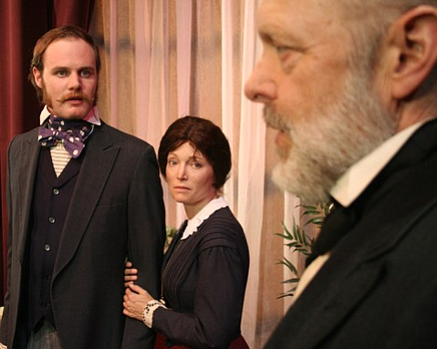 Josh Jenkins, Avery Clyde and Tom Hinshaw in The Theatre Group at SBCC's production of <i>The Heiress</i>.