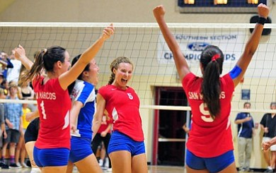 San Marcos girls volleyball celebrate win against Dos Pueblos.