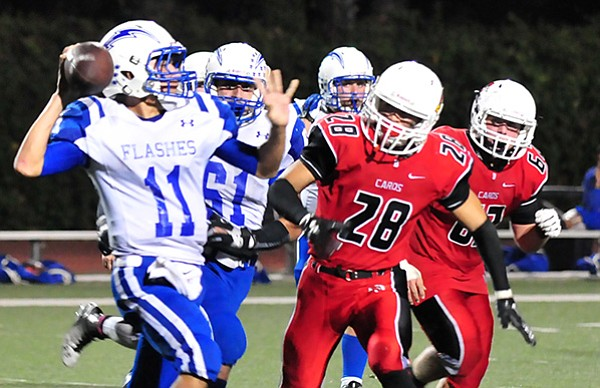 The Bishop Diego pass rush chases down Fillmore quarterback Carlos Briceno.