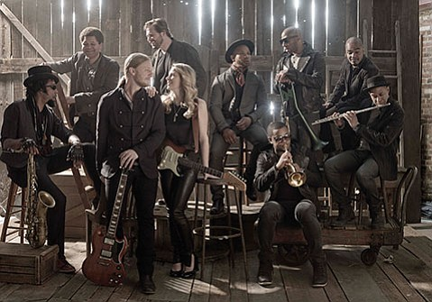 <b>TRUCKIN' ALONG:</b>  Husband and wife Derek Trucks (third from left) and Susan Tedeschi (fourth from left) copilot the many-membered Tedeschi Trucks Band, which pulls into the Arlington on October 30.