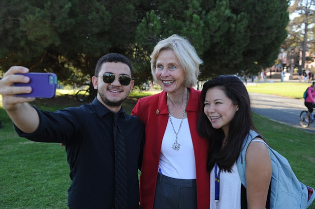 "Rep. Lois Capps takes a selfie with UCSB students after a ""Get Out the Vote"" rally on Wednesday afternoon."