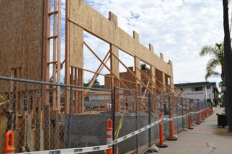 Framing for the new 7-11 and Subway locations was recently erected.