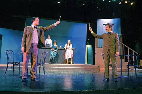 <b>IT'S ALL RELATIVE:</b> San Marcos High School students Michael Libera (left) and Carter Boden star as Pablo Picasso and Albert Einstein in Steve Martin's Picasso at the Lapin Agile, opening next Thursday, November 13.