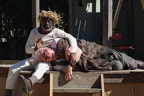 <b>BLIND LEADING THE BLIND:</b>  Joseph Marcell (left) and John Stahl star in King Lear.