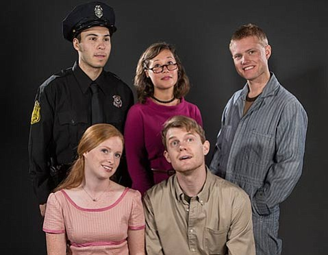 <b>SMALL-TOWN AMERICA:</b>  Middletown's cast includes (clockwise from top left) Rigo Sanchez as the Cop, Blythe Foster as the Librarian, Dillon Francis as the Mechanic, Ian Elliott as John Dodge, and Quinlan Fitzgerald as Mary Swanson.