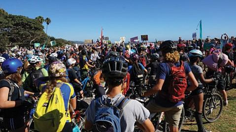 <b>ON THE ROAD:</b>  Santa Barbara Middle School students mountain bike in Morro Bay.