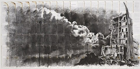 "<b>FIRE AND SMOKE: </b> Tom Pazderka's ""Falling Twilight"" (2014) depicts a burning building in charcoal on burned book paper."