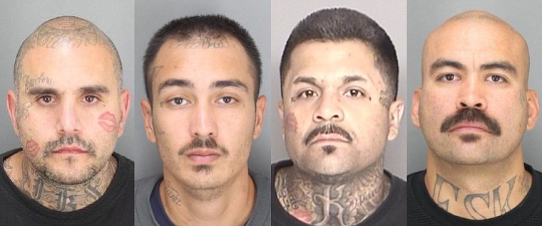"From left to right: Benny ""Conejo"" Ybarra, Edgar ""Playboy"" Cordova, Jesse ""Loco"" Enriquez, and Ruben ""Evil"" Regalado are from Santa Barbara. The other three defendants named in the indictment reside in Santa Maria and Lompoc"