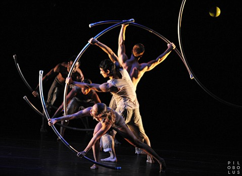"""<b>BENDABLE, POSEABLE:</b> New York's Pilobolus Dance Theater takes its name from a fungus that, like the company's dancers, """"propels itself with extraordinary strength, speed, and accuracy."""""""