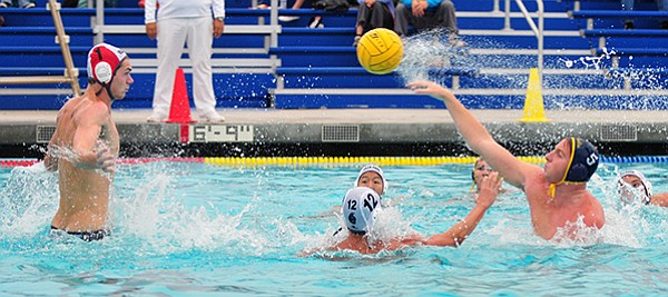 Dos Pueblos' Taylor Gustason fires a shot at Villa Park goalie Sam Thompson.