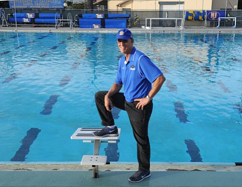 """Now in his 39th season, UCSB swim coach Gregg Wilson (above) has compiled an enviable record of team championships. """"All of us coaches have to fundraise for our existence,"""" Wilson said. """"We can't buy elite swimmers. We can try to get good athletes to come to an elite academic institution by the ocean."""""""