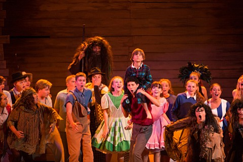 <b>BE A HERO:</b>  The ensemble cast of <i>Big Fish</i> fills the stage at Santa Barbara High.