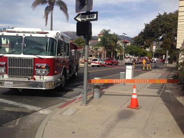 East Anapamu between Garden and Santa Barbara streets closed.
