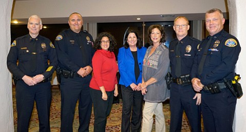 Celebrating the Restorative Court program's third anniversary were (left to right) Capt. David Whitham, SBPD;  Officer Craig Burleigh; Mayor Helene Schneider; founder Pauline Maxwell, Santa Barbara Superior Court Commissioner, who presides over the Restorative Court; Mureen Brown, outreach specialist, Restorative Policing; Lt. Brent Mandrell; and founder Officer Keld Hove.