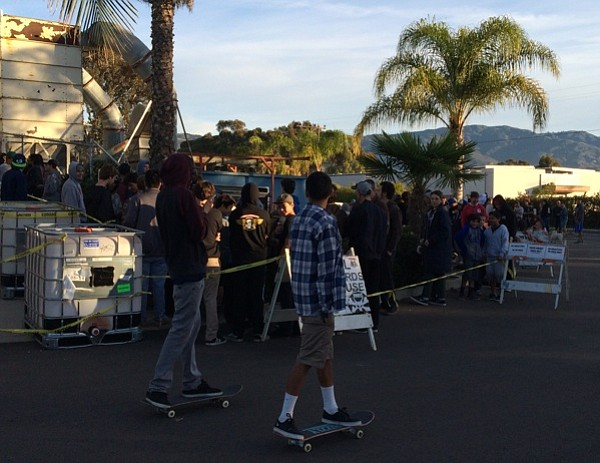 The early morning lineup outside Powell Peralta's annual warehouse sale