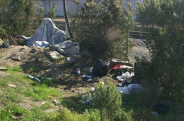 Homeless campsite near the creek bed along Calle Cesar Chavez (February 2012)