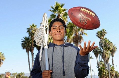 """DOUBLE-TEAMING:  Darwin Miguel is a lacrosse player who made the Laguna Blanca football team. The 5′6″, 130-pound junior played cornerback for the Owls this fall. """"Playing cornerback is a huge responsibility, knowing you've got to make the tackle or it's in the end zone,"""" Miguel said. """"I'm a goalkeeper in lacrosse."""" There is a lower risk of concussions in lacrosse than football, but Miguel said, """"There are definitely some injuries in both sports. You're going to get bruises if you play either one."""""""