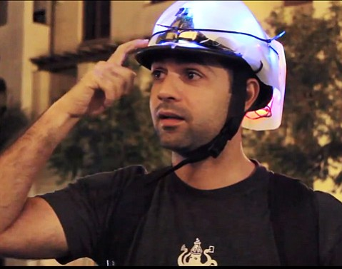 The prototype LUXhelmet takes the bike helmet and turns it into a light for your head.