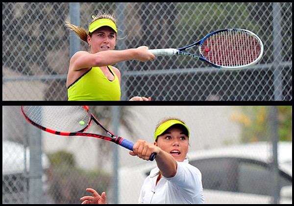 The Santa Barbara High doubles team of Mattea Kilstofte (top)  and Madison Hale advanced to the CIF semifinals.