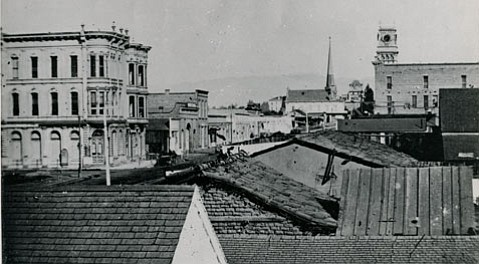 The First National Gold Bank, the three-story building at left, circa 1880, was established in Santa Barbara in 1873 by Mortimer Cook.